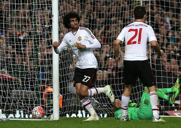Marouane Fellaini celebrates scoring on his return to the starting XI | Photo: Ian Walton/Getty Images Sport