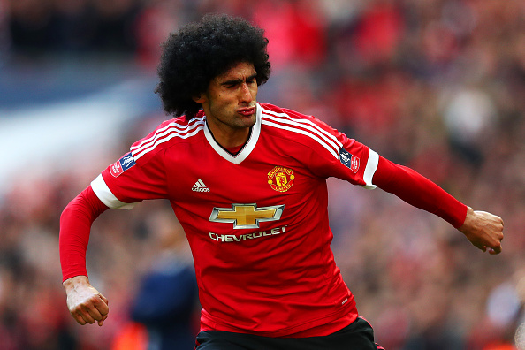 arouane Fellaini of Manchester United celebrates scoring the opening goal during The Emirates FA Cup semi final match between Everton and Manchester United at Wembley Stadium on April 23, 2016 in London, England. (Photo by Julian Finney/Getty Images)