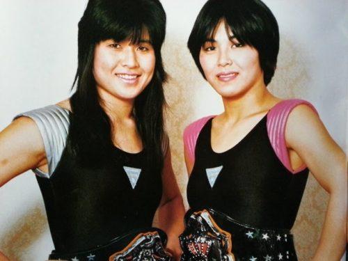 The Jumping Bomb Angels con los entonces Campeonatos por Pareja Femeninos
