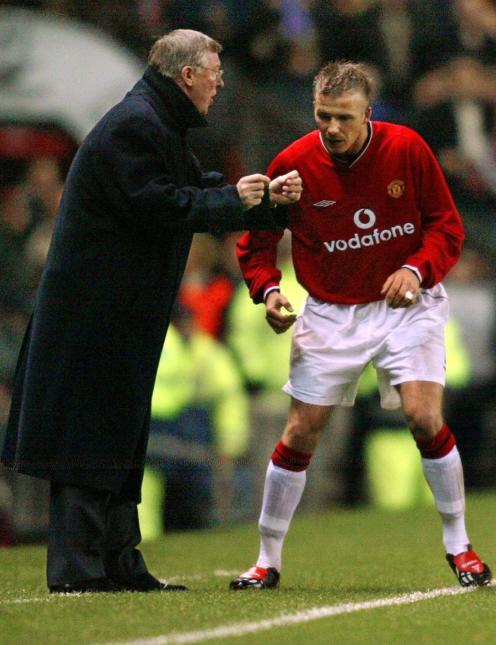 Ferguson dando instrucciones a Beckham. Foto: Getty Images