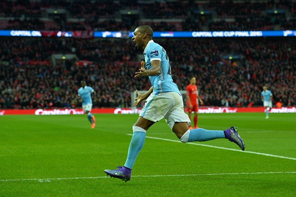 Fernandinho celebrates the opening goal at Wembley. (Getty)
