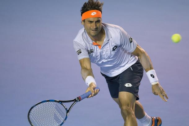 David Ferrer hits a forehand during his first round win (Photo: Abierto Mexicano Telcel)