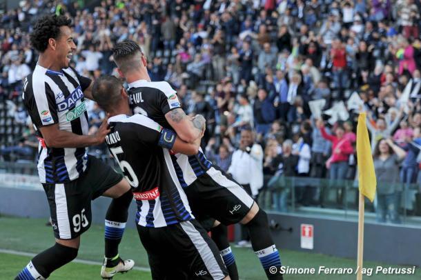 Rodrigo De Paul esulta dopo un gol. Fonte: www.facebook.com/UdineseCalcio1896