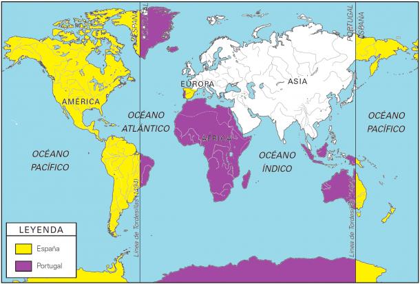 División del territorio según el Tratado de Tordesillas