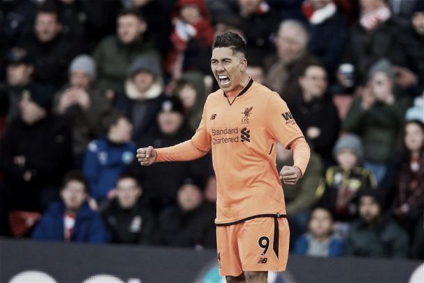 Firmino festeja la apertura del marcador. Foto: Liverpool.