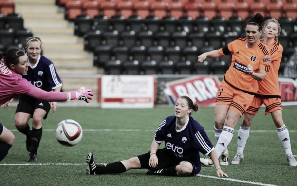 Glasgow Girls lost to Glasgow City in the SWPL Cup Quarter-Final. Photo: Tommy Hughes