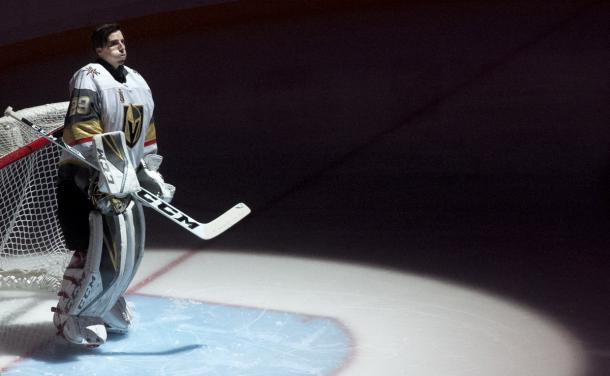 Marc-Andre Fleury tries to contain his emotions in his homecoming to Pittsburgh. (Photo: Steph A. Chambers)