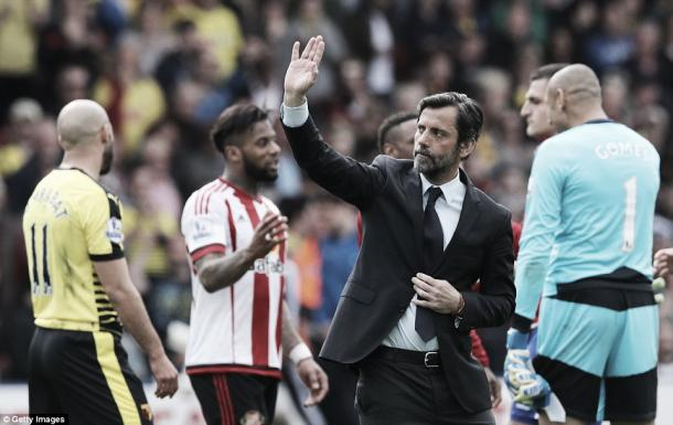 Above: Quique Sánchez Flores waves farewell to Watford in his final match in charge of the club in their 2-2 darw with Sunderland | Photo: Getty Images