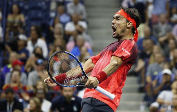 Fabio Fognini celebrates his victory over Nadal at the 2015 US Open (Photo: USATSI)