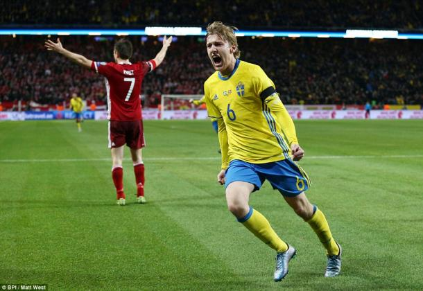 Forsberg celebrates his goal against Denmark. | Image credit: BPI / Matt West / Daily Mail
