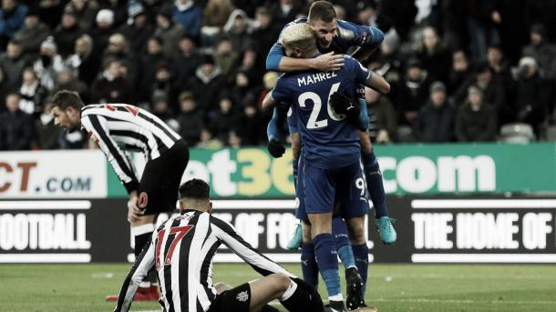 Los jugadores del Leicester celebran el último triunfo frente al Newcastle, Foto: Premier League.