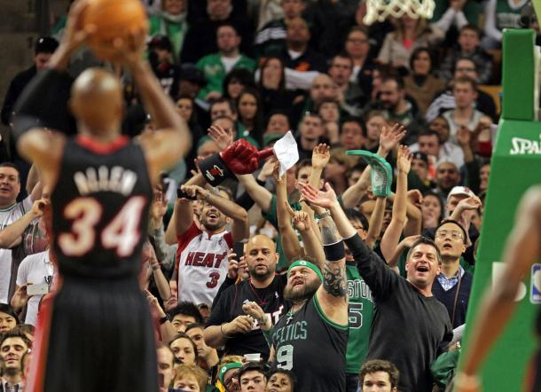 Ray Allen (34), en su primera vuelta a Boston como miembro de los Heat. | Fotografía: Nancy Lane / Boston Herald
