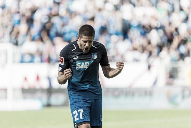 El goleador Kramaric celebrando   Foto: Página Oficial TSG Hoffenheim