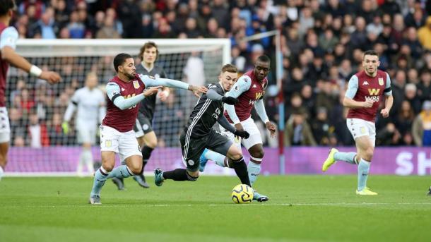 Maddison ante el Aston Villa / Foto: Página oficial Leicester