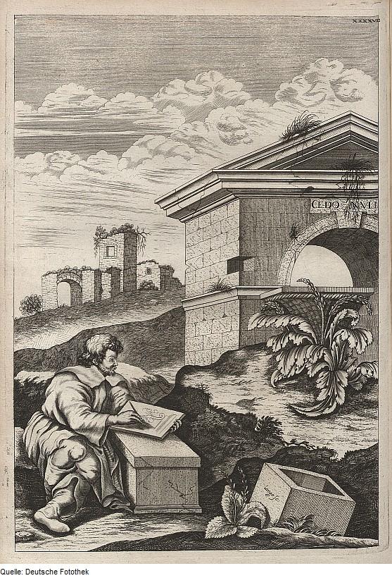 Calímaco dibujando el capitel corintio a partir de una planta de acanto. (Public Domain)