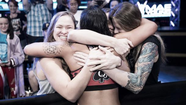 Baszler celebrated with the Four Horsewomen. Photo-WWE.com