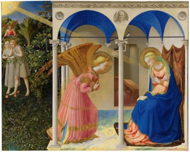 La Anunciación y la expulsión de Adán y Eva del jardín del Edén, Fra Angelico  (1425-1426). Museo Nacional del Prado.