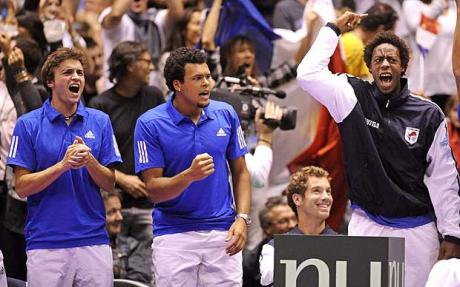 France's Davis Cup Team Celebrate Reaching the 2014 Final. Photo: EPA