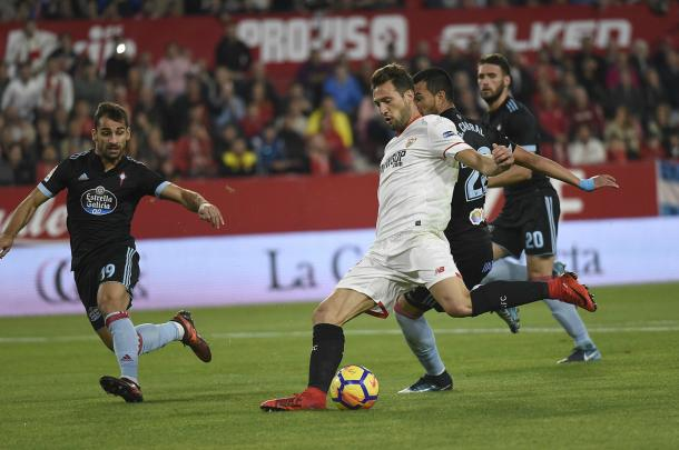Franco Vázquez contó con numerosas ocasiones aunque no tuvo fortuna | Foto: Sevilla FC