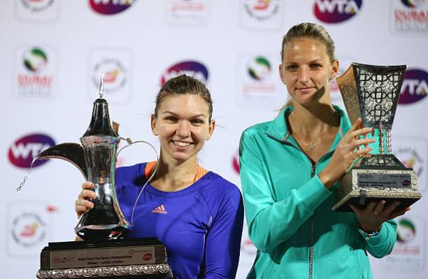 Simona Halep and Karolina Pliskova after the Romanian won the Dubai final between the two back in 2015 (Getty/Francois Nel)