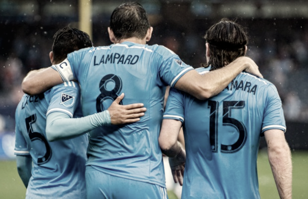 Mikey Lopez with former teammates Frank Lampard and Thomas McNamara. | Photo: Matt Kremkau- Empire of Soccer