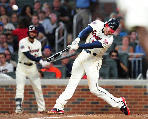 Freddie Freeman #5 of the Atlanta Braves hits a seventh inning three-run home run against the Miami Marlins. |Source: Scott Cunningham/Getty Images North America|