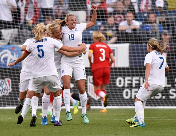 Toni Duggan celebrates scoring England's only goal at the SheBelieves Cup (Photo credit: Frederick Breedon/Getty)