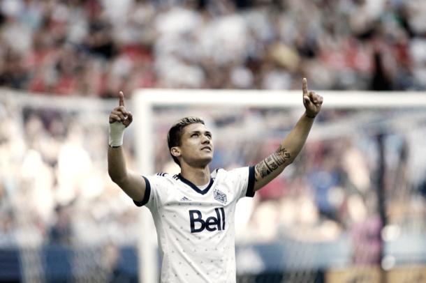 Fredy Montero celebrates the first goal of the night.   Photo: Vancouver Whitecaps