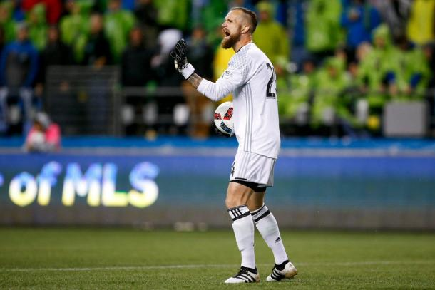 Seattle Sounders goalkeeper Stefan Frei made a number of key saves to keep the Sounders in the match against Sporting Kansas City | Source: Seattle Sounders Twitter - @SoundersFC