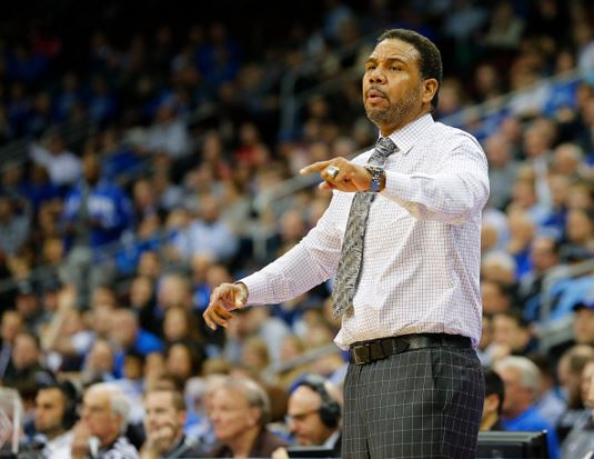 Head coach Ed Cooley of the Providence Friars signals to his team during the second half against the Seton Hall Pirates an NCAA college basketball game on February 25, 2016 at the Prudential Center in Newark, New Jersey. Seton Hall defeated Providence 70-52. (Photo by Rich Schultz /Getty Images