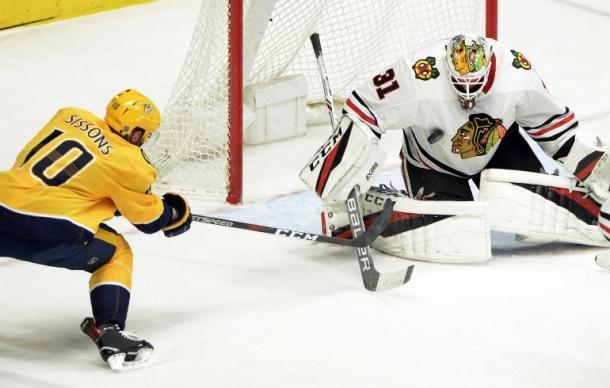 Anton Forsberg stopped 42 of 43 shots to help defeat the Nashville Predators January 30, 2018. (Photo: WGN radio)