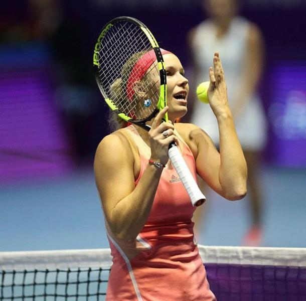 Caroline Wozniacki showing her frustrating during her second round loss (Photo:Getty Images)