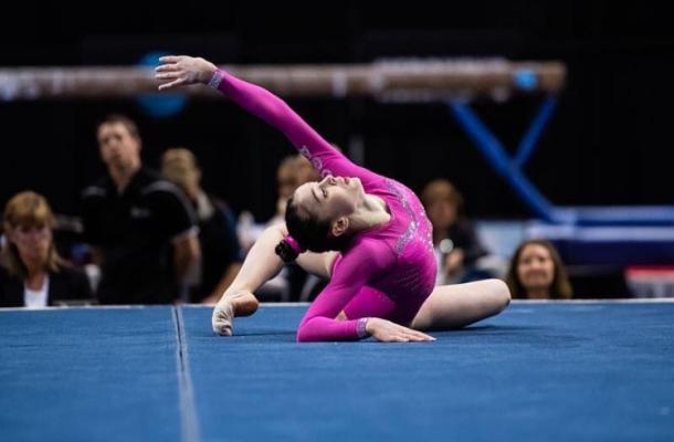 Irina Alexeeva performs on the floor exercise at the 2016 Secret US Classic in Hartford/USA Gymnastics