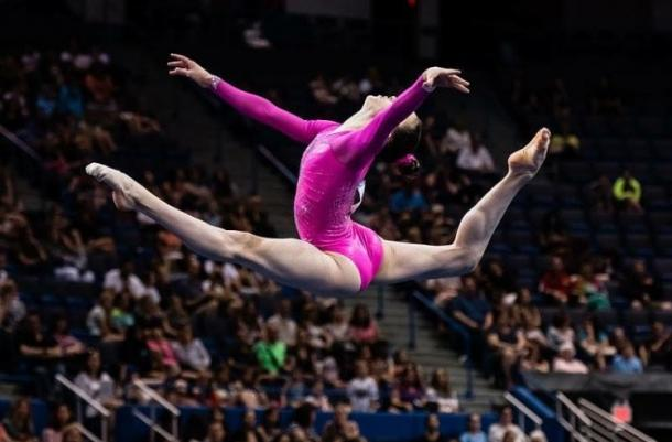 Irina Alexeeva performs on the balance beam at the 2016 Secret US Classic in Hartford/USA Gymnastics