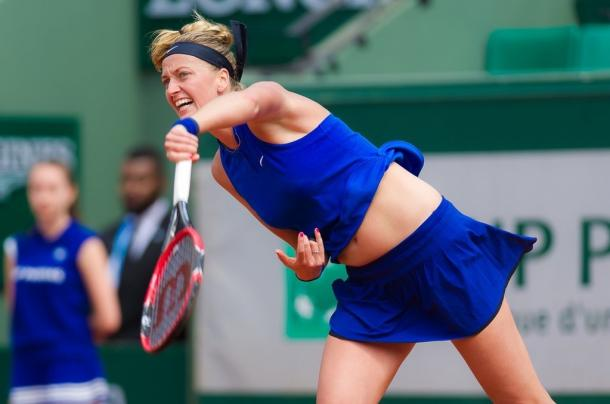 Petra Kvitova serves at the French Open in Paris/Jimmie48 Photography