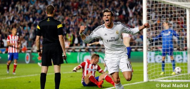 Gareth Bale celebra el 2-1 en la final de la UCL (2014) / realmadrid.com