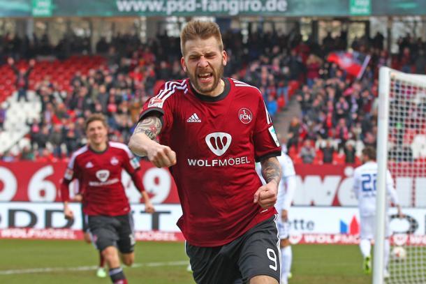 Burgstaller has been in fine form since arriving at the Frankenstadion.   Source: 1. FC Nürnberg