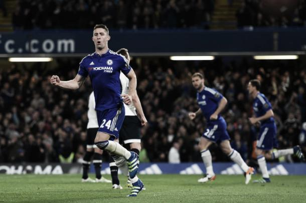 Cahill celebrates his goal on Monday night.   Image source: Getty Images