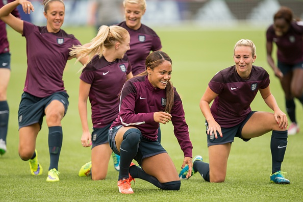 Business as usual for the Lionesses in Canada as they trained ahead of their final game against Germany (Photo credit: Geoff Robbins/Stringer)