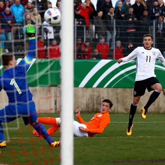 Germany's Jano Baxmann scores - Netherlands in Elite Round Qualifying | Photo: Getty Images via UEFA.com