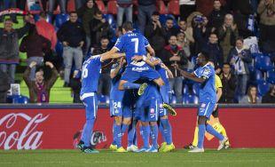 Los jugadores del Getafe celebrando un tanto en Liga   Fuente: Getafe CF