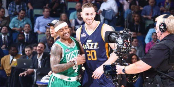 After competing against each other in the Skills Challenge, Gordon Hayward and Isaiah Thomas can  very well be teammates soon. Photo: Nathaniel S. Butler