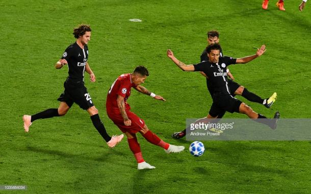 Gol de Firmino, 3-2. Foto: Getty images.