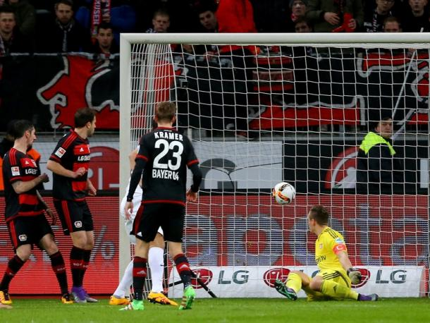 Los jugadores del Leverkusen ante el 0-1. | Fuente: kicker.de