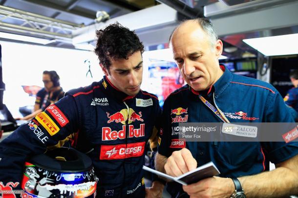 Daniel Ricciardo y Franz Tost en 2012 / Fuente: Getty Images