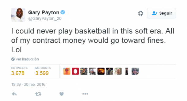 Tweet de Gary Payton sobre cómo sería su situación en la NBA actual. Foto: twitter.com