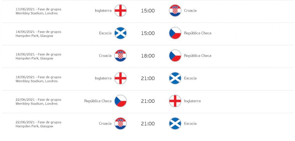 Calendario de partidos del grupo D / FOTO: UEFA