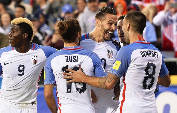 Geoff Cameron (center) of the United States Men's National Team celebrates his first half goal against Guatemala with Graham Zusi (#19) of the United States Men's National Team and Clint Dempsey (#8) of the United States Men's National Team during the FIFA 2018 World Cup qualifier on March 29, 2016 | Jamie Sabau - Getty Images
