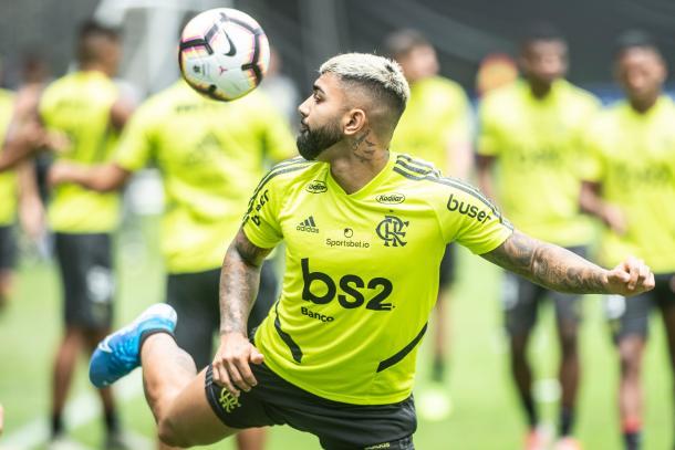 Gabriel Barbosa lanza lujos en los entrenamiento del Fla / Foto: Copa Libertadores twitter oficial