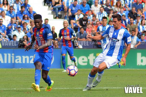Gabriel durante el partido ante el Barcelona de la pasada temporada. / Foto: Gema Gil (VAVEL.com)